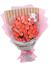 33支粉玫瑰,小猪装饰(或者小熊装饰)