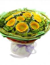 10枝向日葵,双层独立包装,叶上黄金、巴西叶搭配