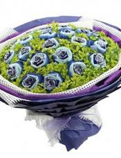 22枝蓝玫瑰单独包装,叶上黄金精美搭配