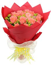 18枝粉玫瑰,叶上黄金丰满