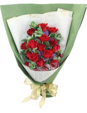 19支红色玫瑰,绿叶丰满
