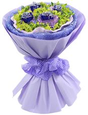 4枝蓝玫瑰,叶上黄金丰满