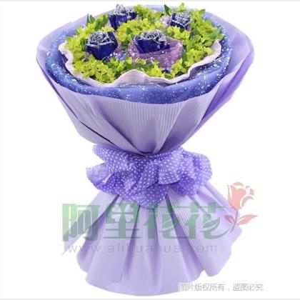 04枝玫瑰花/蓝玫瑰
