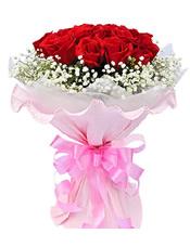 19朵红玫瑰,满天星点缀.