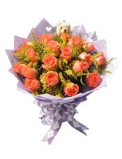 21枝粉玫瑰,黄英丰满间插,随机搭配小熊一只。