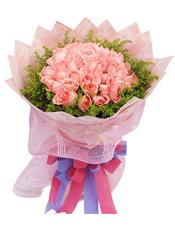 50枝粉玫瑰,黄英围绕