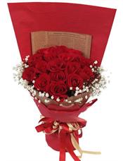 19枝红玫瑰,满天星围边