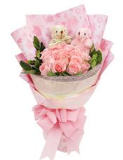 19枝戴安娜玫瑰,2只小熊,绿叶间插