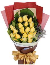 19枝黄玫瑰,龟背叶、勿忘我、绿叶间插