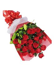 21枝红玫瑰,绿叶间插