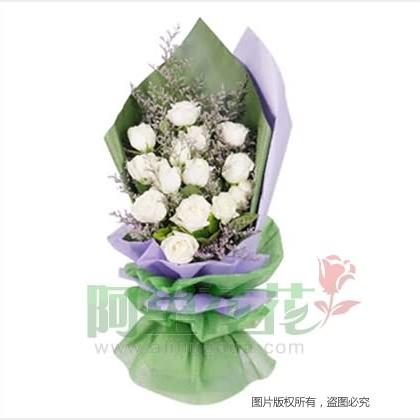 16枝玫瑰花/白玫瑰