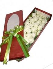 29枝白玫瑰,绿叶、黄英间插