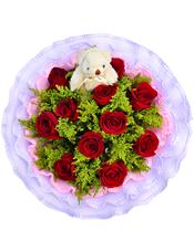 11枝红玫瑰,1只可爱小熊,黄英丰满