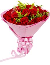 29枝红玫瑰,黄英间插。