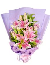 6枝粉色多头香水百合,黄英丰满。