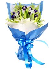 11枝蓝玫瑰,2枝多头白百合,黄英丰满。