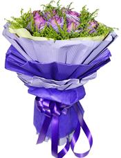 11枝紫色玫瑰独立包装,黄英丰满。