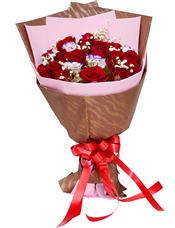 20枝红玫瑰,4枝花边桔梗,满天星丰满