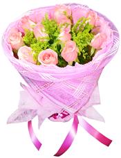 11枝粉玫瑰,黄英丰满。