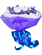 11枝白玫瑰,紫色勿忘我围边。
