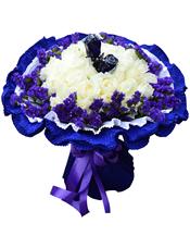 36枝白玫瑰、2枝蓝玫瑰,紫色勿忘我围边