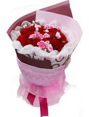 21枝红色康乃馨,粉色多头康乃馨点缀
