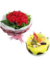 33支�t玫瑰,�d子�~外��;�A形�r奶水果蛋糕,�r令水果,巧克力拉�z和巧克力插片�b�。