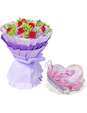 11枝精品红玫瑰,叶上黄金丰满;8寸心形鲜奶蛋糕,粉色奶油花装饰,粉色双心。