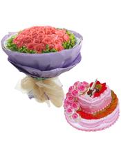 66枝粉玫瑰,叶上黄金围边;10寸两层圆形的蛋糕由奶油,水果鲜奶玫瑰,上面加上一些装饰品等材料组成。美味可口。