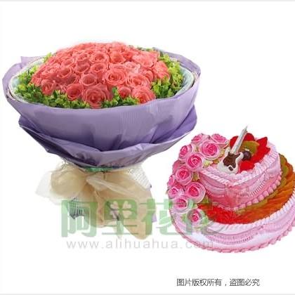 鲜花蛋糕/