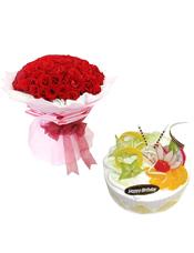 99枝精品红玫瑰;圆形鲜奶水果蛋糕,时令水果。