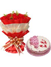 """33枝康乃馨,黄英插间;8寸生日蛋糕6朵粉色奶油花装饰及心形小图案点缀,有""""快乐健康""""字样。"""