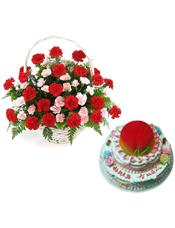 33枝红色康乃馨,15枝多头粉色康乃馨,绿叶间插,排草;12寸三层鲜奶蛋糕,上层做成蟠桃。