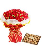 99枝红玫瑰,叶上金(或者黄莺草)点缀;费列罗24粒装,净含量300G。