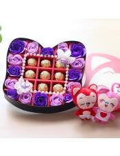 香皂花巧克力礼盒送女友生日礼物