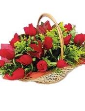 时尚花篮盛著20枝红玫瑰、黄孔雀及绿叶。