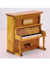 复古仿真立式木质钢琴音乐盒