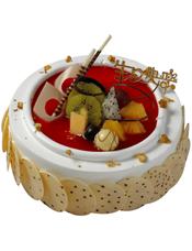 圆形鲜奶蛋糕,时令水果装饰,巧克力片围边装饰