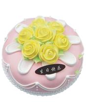 圆形鲜奶蛋糕,奶油花装饰。