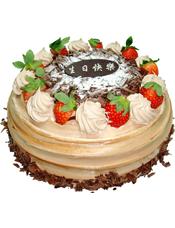 圆形巧克力蛋糕,草莓,巧克力屑装饰(草莓为季节性水果,如缺货会选择其他水果代替)