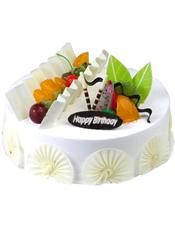 圆形鲜奶水果蛋糕,时令水果、巧克力片装饰