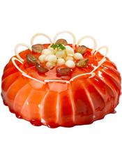 圆形鲜奶水果蛋糕,红色果酱,时令水果、巧克力片装饰