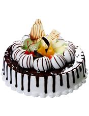 圆形欧式蛋糕,时令水果、巧克力装饰