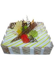 方形鲜奶水果蛋糕,黄色果酱,时令水果、巧克力片装饰