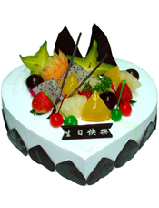 心形慕斯蛋糕,时令水果装饰