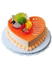 心形乳酪蛋糕,时令水果装饰