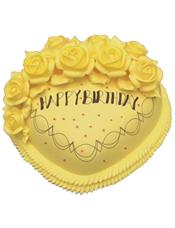 心形鲜奶蛋糕,黄色奶油花装饰