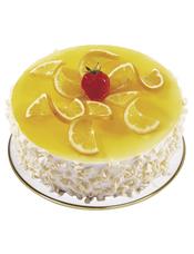 圆形慕斯蛋糕,柠檬片装饰,白色巧克力屑围边