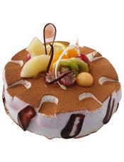 圆形穆斯蛋糕,时令水果、巧克力片装饰,此款需提前两天预订
