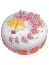 圆形鲜奶蛋糕,奶油花,水果装饰